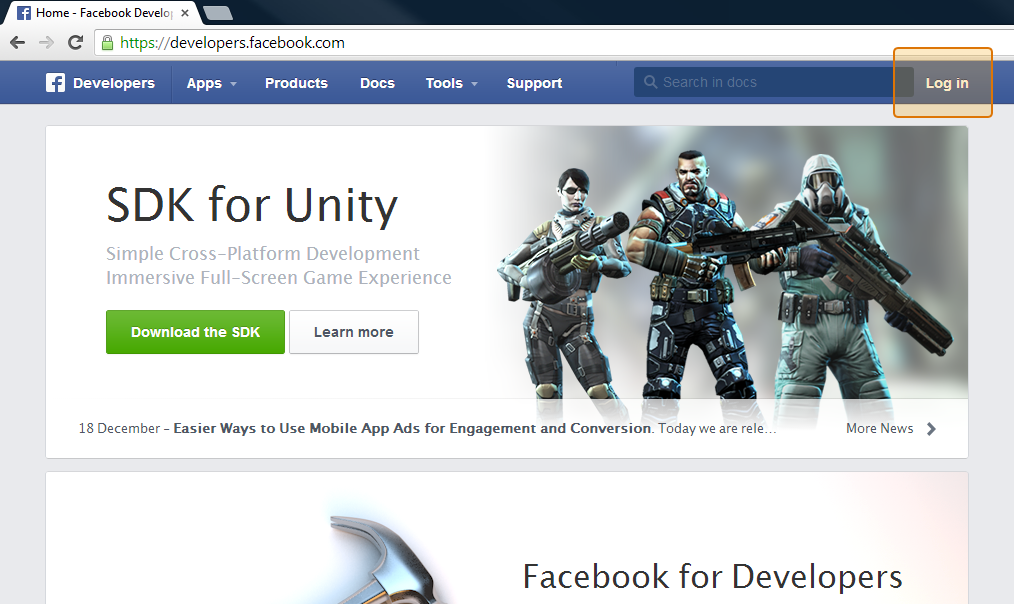 Screenshot of Facebook developers website with the Login button highlighted