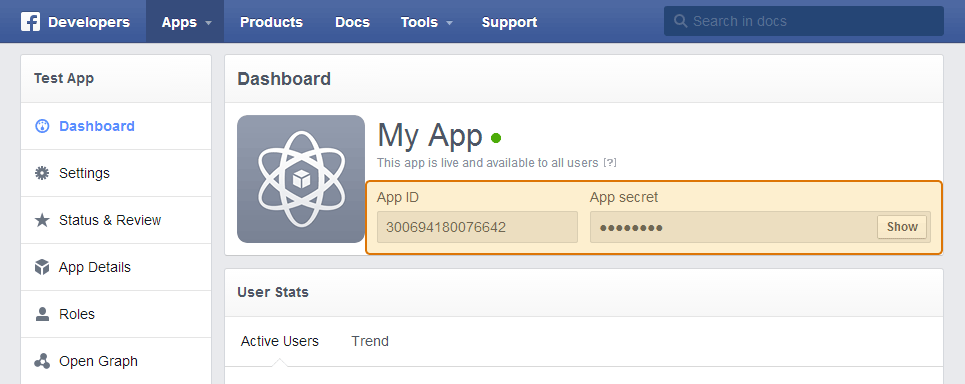 Copy and paste your Facebook App ID and App Secret