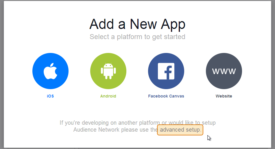 Add a new Facebook App