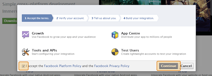 Accept Facebook's terms and conditions