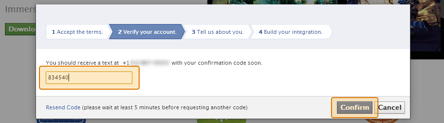 Enter your code from Facebook into the box