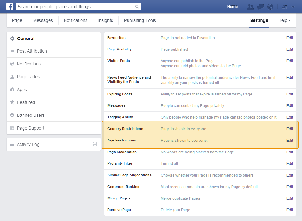 Your Facebook page may have restrictions on it