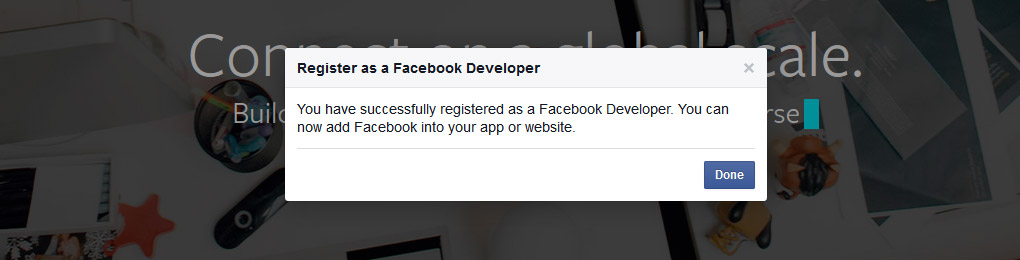 Registered as Facebook Developer