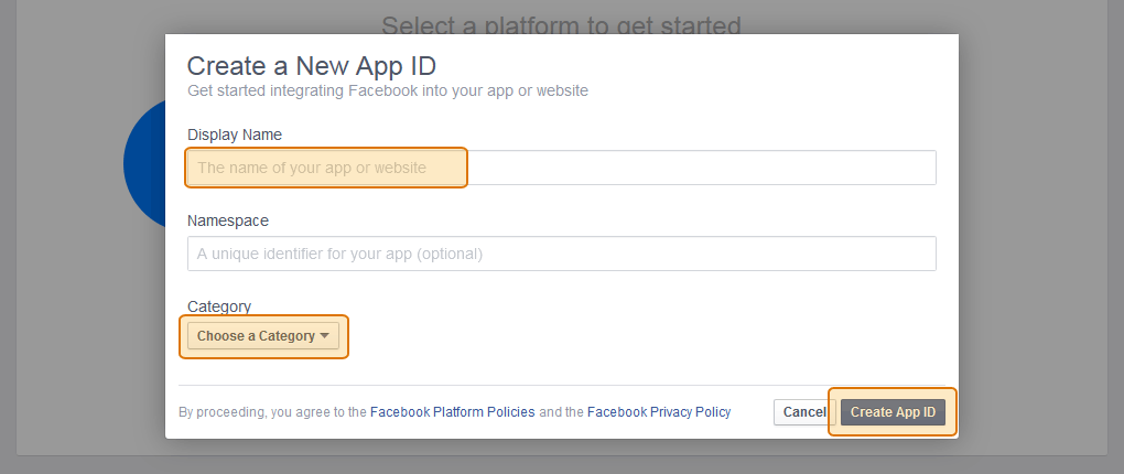 Enter your Facebook App name