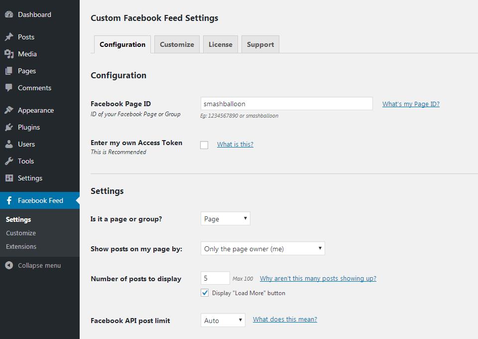 the custom facebook wordpress plugin