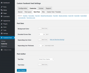 Customizing your Facebook feed WordPress plugin - Post Style - Page 1