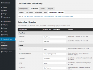 Customizing your Facebook feed WordPress plugin - Custom Text / Translate - Page 1