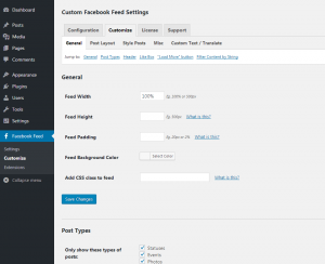 Customizing your Facebook feed WordPress plugin - General Settings