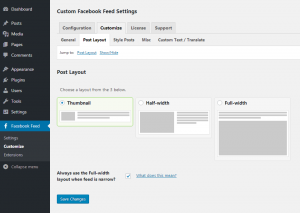 Customizing your Facebook feed WordPress plugin - Post Layout - Page 1