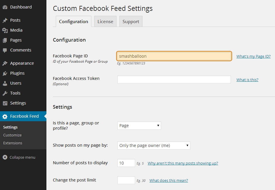 Enter your Facebook Page ID and optional Facebook App Access Token