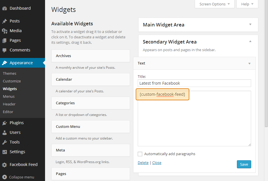 Using the shortcode in a WordPress widget