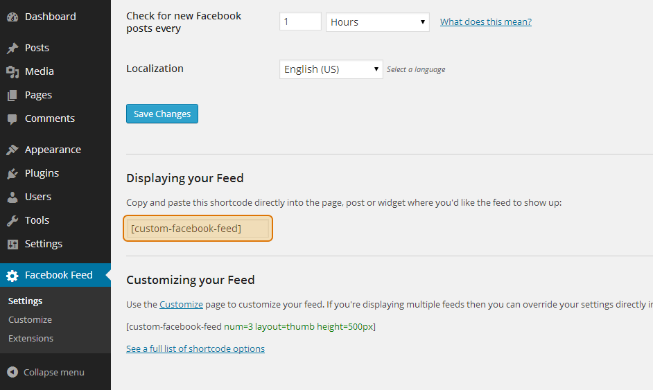 Copy the Custom Facebook Feed shortcode