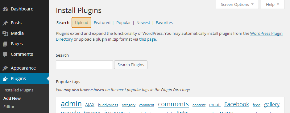 Click on Upload at the top of your WordPress Plugins page