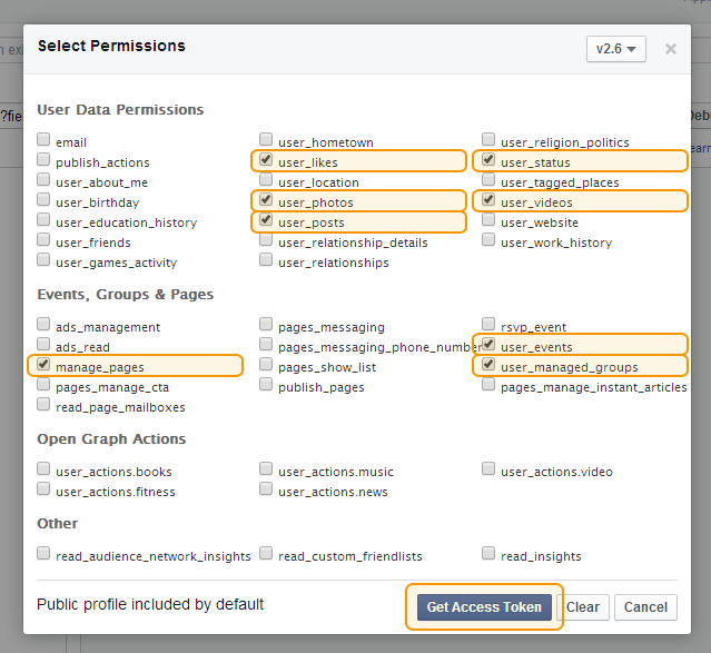 Facebook User Access Token step 4