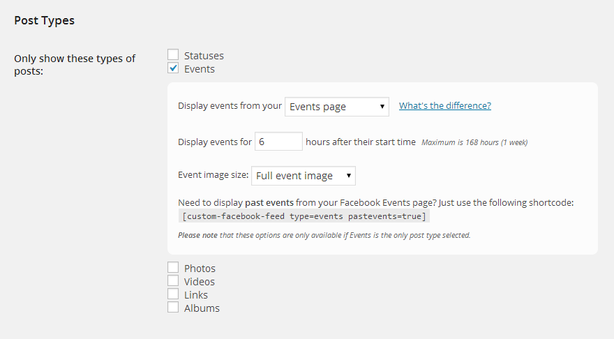 Use the settings in the Post Types section to select only Events from the Facebook post types
