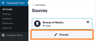 Sources page with the change button highlighted