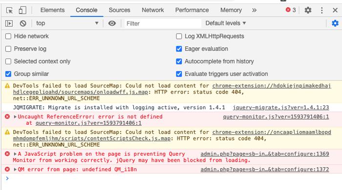 Admin JavaScript Error