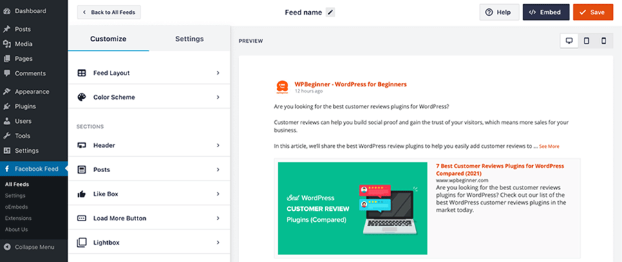 Overview of the customize page for a feed