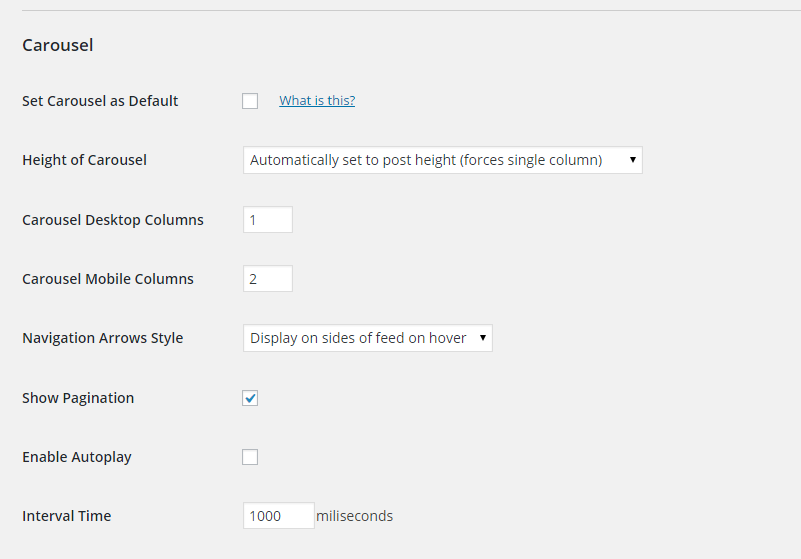 Screenshot of the Settings for the Carousel extension for the Custom Facebook Feed plugin