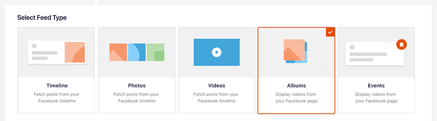 Select feed type albums