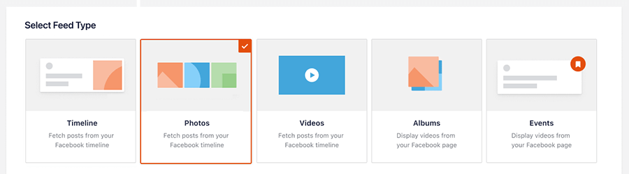 Select feed type photos