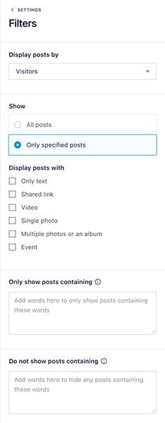 Filtration settings screen
