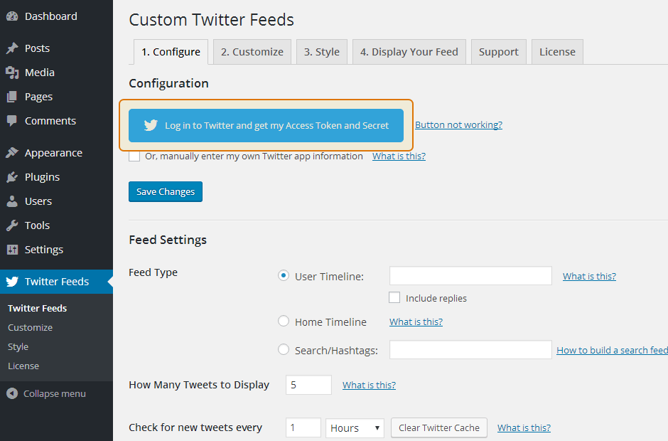 Custom Twitter Feeds WordPress Plugin Setup 12