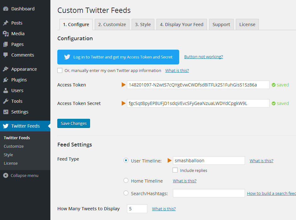 Custom Twitter Feeds WordPress Plugin Setup 14
