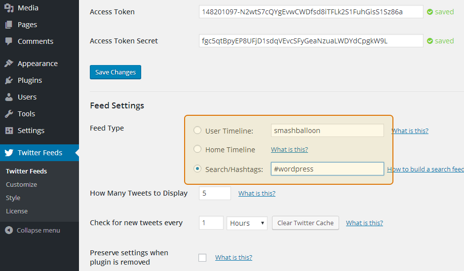 Custom Twitter Feeds WordPress Plugin Setup 15