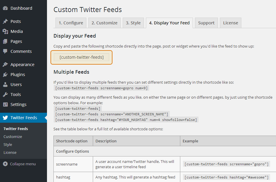 Custom Twitter Feeds WordPress Plugin Setup 18