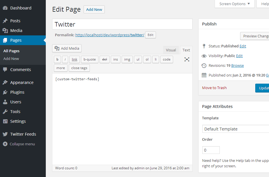 Custom Twitter Feeds WordPress Plugin Setup 19