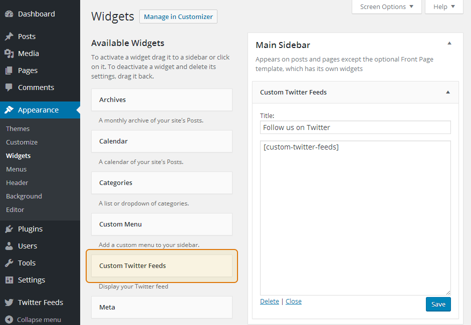 Custom Twitter Feeds WordPress Plugin Setup 20