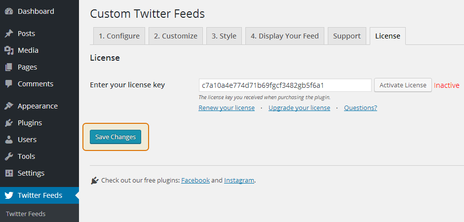 Custom Twitter Feeds WordPress Plugin Setup 8