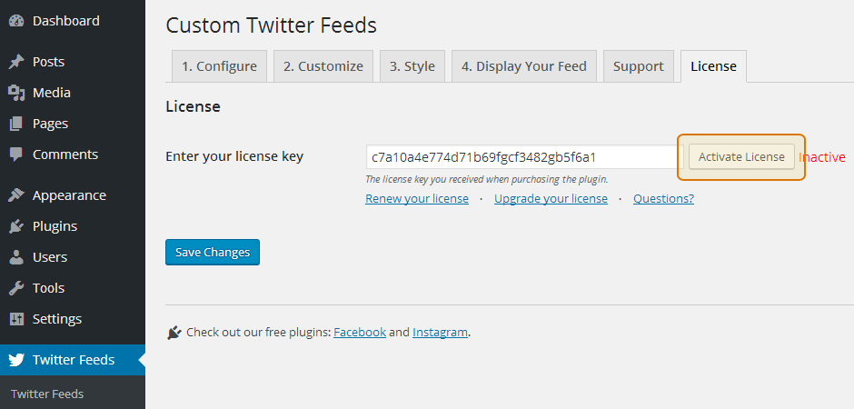 Custom Twitter Feeds WordPress Plugin Setup 9