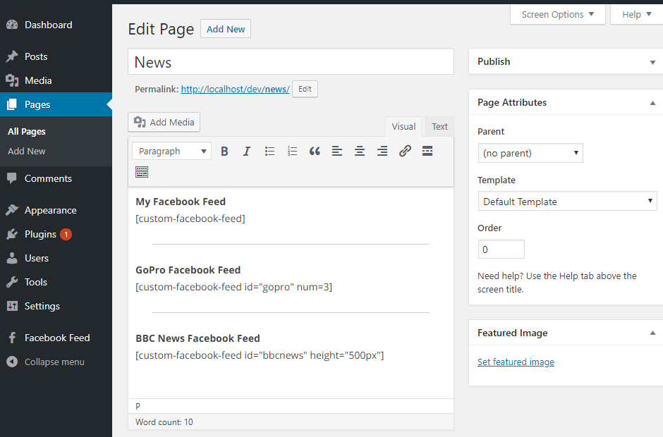 Setting up the Free Custom Facebook Feed WordPress Plugin