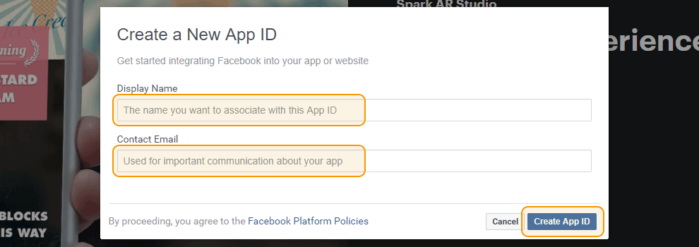 Add App ID and Email to Register new Facebook app
