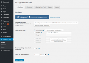 Instagram Feed WordPress plugin settings