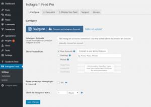 Instagram Feed WordPress plugin settings