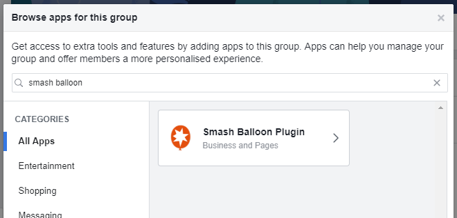 Select Smash Balloon Plugin Facebook app