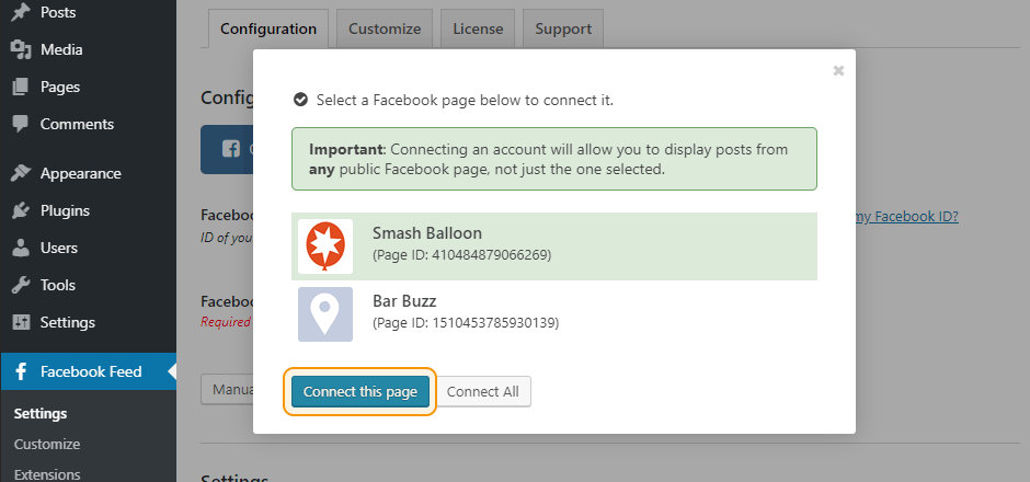 Select a Facebook page to connect