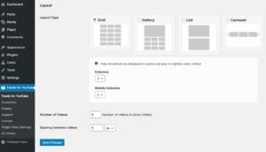 Feeds for YouTube WordPress plugin - Grid Options