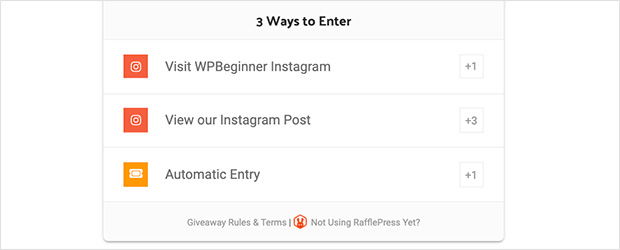 Instagram giveaway entry options