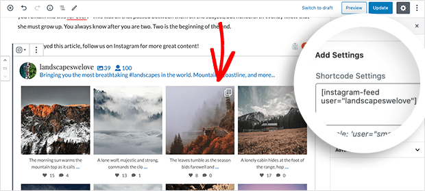 Add Instagram user feed to blog post
