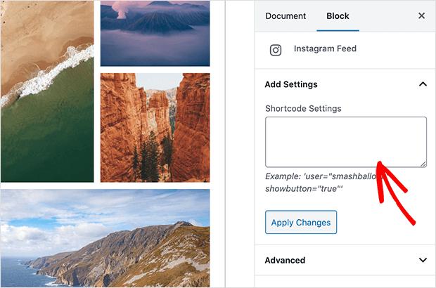 Instagram feed block shortcode settings