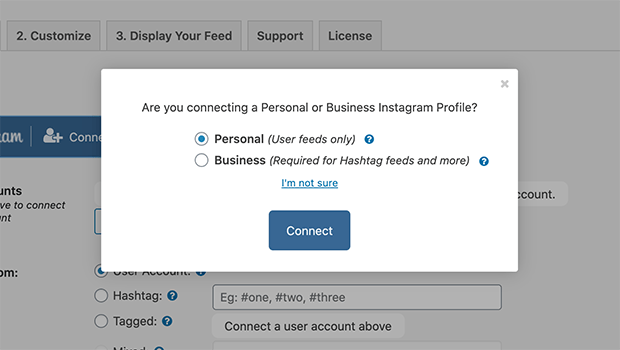 Connect a business or personal Instagram account