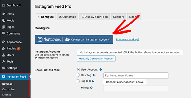 Connect Instagram account to embed instagram on website