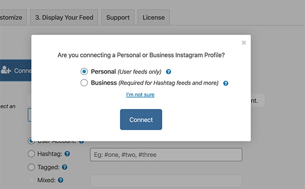 Connect a personal or business Instagram profile