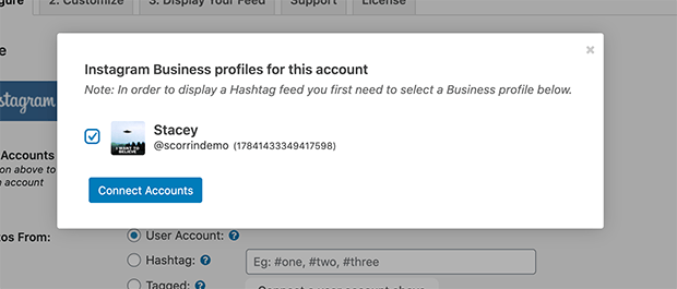 connect instagram account to embed feed on wordpress