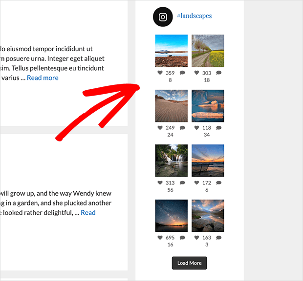 Instagram Feed in blog sidebar using widget