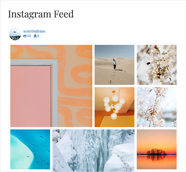 Instagram feed block editor